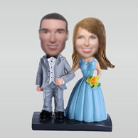 Personalized custom sweet couple bobble head doll