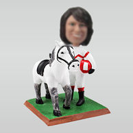 Personalized custom woman horse bobbleheads