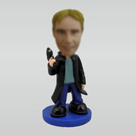 Personalized man with gun bobbleheads