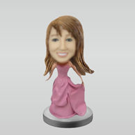 Personalized pink dress girl bobbleheads