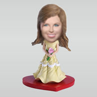 Personalized yellow dress girl bobbleheads