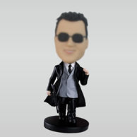 Personalized custom man bobbleheads with gun