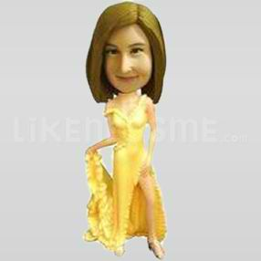 Bobble Head Doll fashion Yellow Dress-11821