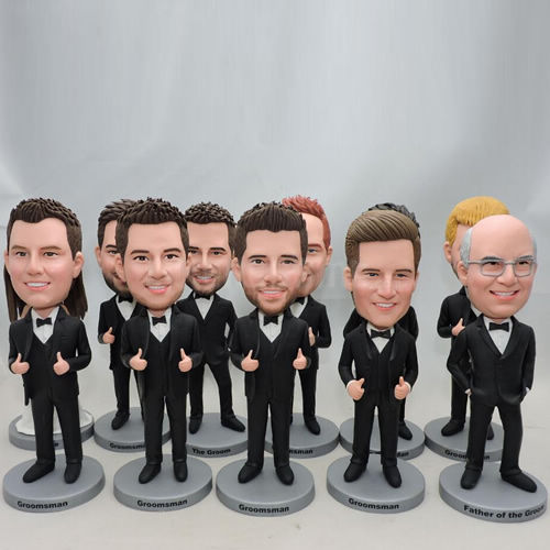 superior quality detailed images 100% quality quarantee Custom groomsmen bobbleheads with same black suit
