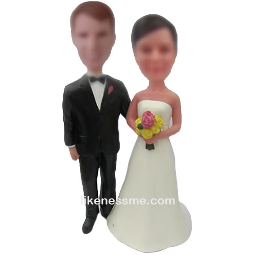 Interracial bobble head wedding toppers for the