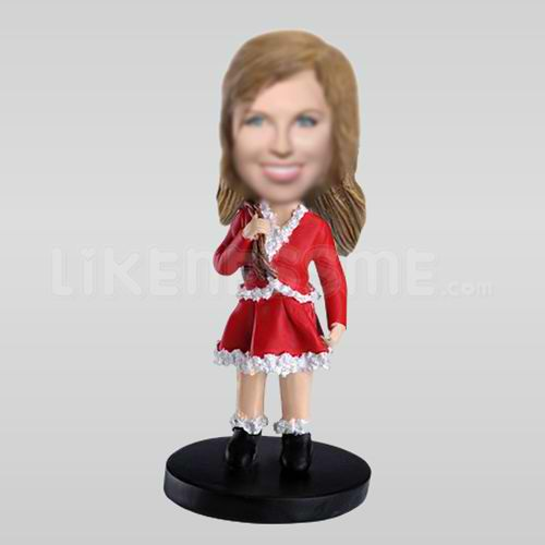 Personalized Custom Female Santa Claus Bobbleheads